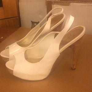 White/cork Jessica Simpson heels